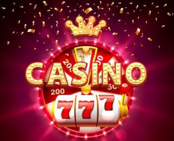 Ordet casino med slotshjul och lyckohjul